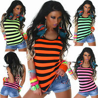 Womens Vest Top Sexy Ladies Clubbing Tank Shirt Party Striped Blouse Size 6 8 10