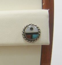 Old Pawn Silver Southwestern Sunface Multiple Stone Inlay Stud Earring 183-C