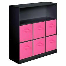 Wooden Black 7 Cubed Cupboard Storage Unit Shelves 6 Dark Pink Drawers Baskets