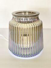 Fluted Gray Scentsy Warmer In Box EUC Glass Tart Wax Burner