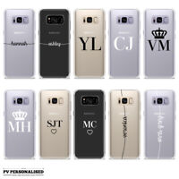 SOFT SILICONE PERSONALISED INITIALS TPU GEL PHONE CASE SAMSUNG GALAXY S7 S8 S9