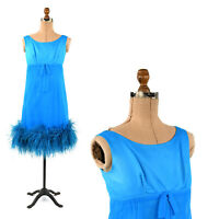 Vintage 60s Sheer Aqua Blue Chiffon Empire Waist Ostrich Feather Party Dress XS