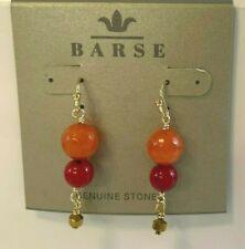 Barse Brand Bronze Bead Genuine Agate & Sea Bamboo Stone Dangle Earrings Purple