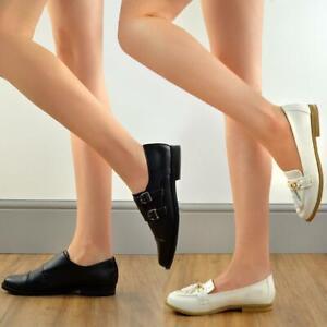 Womens Low Heel Black Loafer Slip On Shoes Smart Work School Pumps Moccasins UK