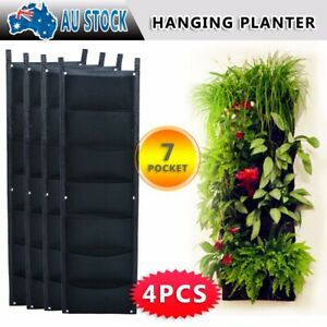 4X 7 Pockets Planter Outdoor Vertical Garden Wall Planting Hanging Bag for Herbs