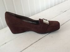 UNISA FAUX SUEDE WEDGE HEEL WOMEN'S SHOES BROWN SIZE 6.5 M