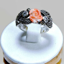 Genuine Rose Carving Coral & Marcasite 925 Sterling Silver Antique Ring Size 6.5
