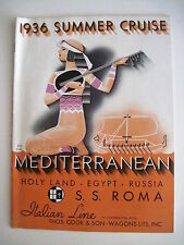 1936 Art Deco Cover on Advertising Brochure for Mediterranean Cruise *