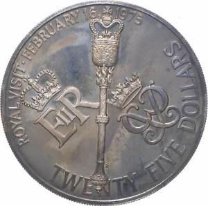 SILVER - WORLD Coin - 1975 Bermuda 25 Dollars - World Silver Coin *393
