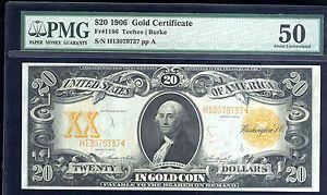 1906 $20 Gold Certificate -FR # 1186 (key FR for 1906)-PMG 50 AU- RAREST FR OF 1
