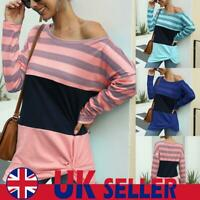 UK Women Long Sleeve Stripe T Shirt Jumper Pullover Long Tops Twist Loose Blouse