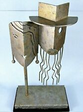 PICASSO STYLE CUBIST METAL SCULPTURE ABSTRACT PORTRAIT OF MAN & WOMAN FACES