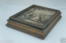 ANTIQUE VICTORIAN WOODEN SEWING OR LETTER BOX W/ PRINT OR ETCHING