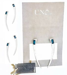 New UNO de 50 Women Silver A Tickle with a Feather Drop Blue Crystal Earrings