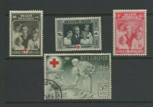 Belgium 1939 Red Cross Society, 4 Used Values incl. 5Fr + 5Fr