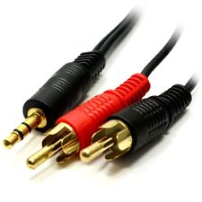 10m 3.5mm Jack to 2 x RCA Cable (Twin Phono) Audio Lead Stereo GOLD
