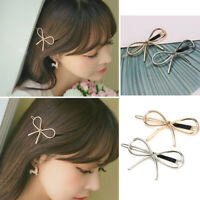 Women Metal Gold Silver Hollow Out Bow Knot Hair Clip Hair Pin Hair Accessories