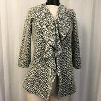 Calvin Klein Black White Knit Open Draped Front Blazer Size 8 Petite