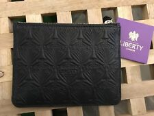 Liberty of London Embossed Leather Coin bag Purse Black New