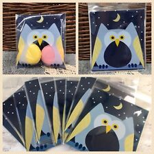 X100 Owl Sweets Cookie Gifts Presentation Party Favour Bags Cello Blue