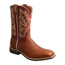 """Twisted X Men's   MTH0027 11"""" Top Hand Cowboy Boot Mocha/Red Full Grain Leather"""