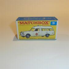 Matchbox Lesney  3 c Mercedes Benz Ambulance empty Repro F style Box