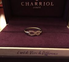 Charriol Laetitia Infinity Ring In Stainless Steel Cable W/ White Topaz Sz 7.5