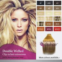 "20""Double Weft Full Head Premium Clip in Human Hair Extensions UK 