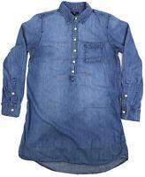 GAP Women's Blue Jean 1/2 Button Up Knee Length Dress Size S Long Sleeve
