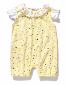 NWT Ajia Boutique Baby Girls Yellow Floral Lace Sunsuit Romper 6-12 Months