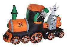 Halloween Air Blown LED Inflatable Yard Decoration Skeleton Ghost Pumpkin Train