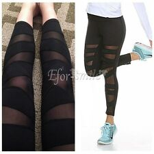 Women Mesh Panties Workout Sports Gym Yoga Leggings Running Fitness Trouser  S