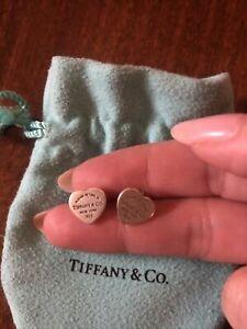 Please Return To Tiffany & Co. Sterling Silver Mini Heart Stud Earrings