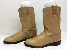 WOMENS JUSTIN COWBOY LEATHER LIGHT BROWN BOOTS SIZE 8 B