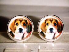 Ohrstecker Hund Tiere Damen Ohrringe Ohrschmuck Modeschmuck Rund Cabochon Braun