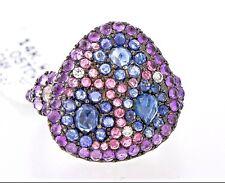 14K White Gold Pink Topaz, Blue Sapphire Amethyst Gemstone Diamond 2.35 TCW Ring