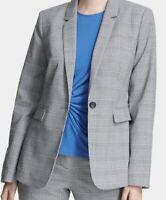 DKNY Womens One-Button Blazer 6 Black & Marina Blue Glen Plaid