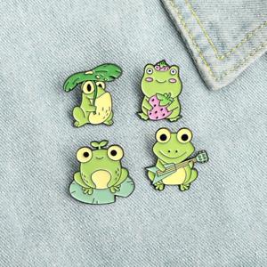 Frog Enamel Pins Brooch 1pc or 4pcs Cartoon Cute Funny Kawaii FREE UK Shipping