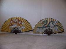 Two Large Vintage Hand Painted Chinese Wall Decor Dragon Fans Signed By Artists