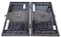 HANDMADE  WOODEN BACKGAMMON BOARD GAME  CARVED COAT OF ARMS OF UKRAINE  ASH-TREE