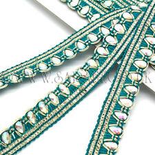 Green Fabric Rhinestone beads Trim Rhinestone trimming,edging,Embellish ment,Sew