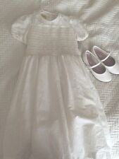 Laura Ashley Mother Child Lace Collar White Flower Girl Dress 5 + Shoes 12