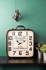 Mantle Standing Suitcase Clock French Vintage Antique Style Paris Iron Glass