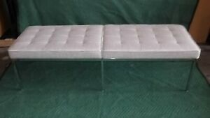 Authentic Knoll Three Seater Barcelona Chrome Bench in fabric
