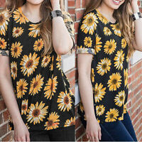 Women Short Sleeve Crew Neck Casual Loose Sunflower Printed T-Shirt Tops Blouse