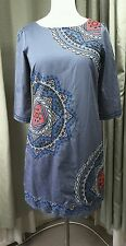 Monsoon Embroidered Grey Cotton Shift Dress UK12 EU40 EXCELLENT CONDITION