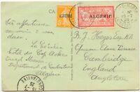 """ALGERIEN 1925, Marken Frankreichs mit Aufdruck """"ALGÉRIE"""" 5 C  u 40 C auf Pra.-AK"""