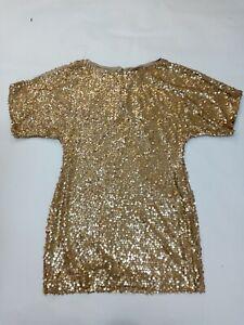 Aidan mattox Gold Sequin Dress Size 4 Uk S