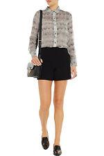 Elizabeth and James Strata Gaby printed silk-chiffon shirt grey XXS NWT $245