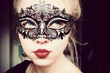 Elegant Black Laser Cut Masquerade Mask Rhinestones Metal Filigree Venetian Mask